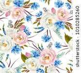 seamless watercolor floral... | Shutterstock . vector #1010285260