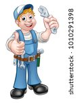 a cartoon character mechanic or ... | Shutterstock . vector #1010291398