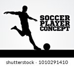 a silhouette of a soccer... | Shutterstock . vector #1010291410