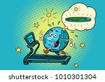 fun fat earth on the treadmill. ... | Shutterstock .eps vector #1010301304