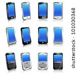 cell phone smart mobile silver... | Shutterstock .eps vector #101030368