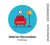 red armchair with light bulb... | Shutterstock .eps vector #1010306410