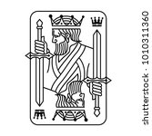 king holding sword playing card | Shutterstock .eps vector #1010311360