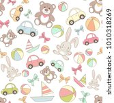 toys seamless pattern with car  ... | Shutterstock .eps vector #1010318269