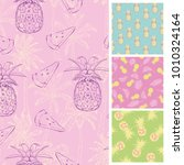 summer trendy seamless patterns.... | Shutterstock .eps vector #1010324164