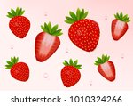 strawberry set. realistic fresh ... | Shutterstock .eps vector #1010324266
