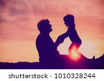 silhouette of grandmother and... | Shutterstock . vector #1010328244