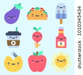 icons set about food with apple ... | Shutterstock .eps vector #1010345434