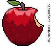 vector pixel art apple bite... | Shutterstock .eps vector #1010355310