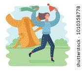 vector cartoon illustration of... | Shutterstock .eps vector #1010358778