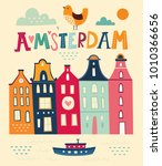 Amsterdam Poster In Cartoon...