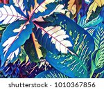 tropical leaf bright digital... | Shutterstock . vector #1010367856