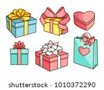 doodle set of gift boxes | Shutterstock .eps vector #1010372290