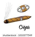 cigar or smoke  gentleman...   Shutterstock .eps vector #1010377549