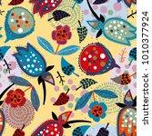 seamless floral pattern. hand... | Shutterstock .eps vector #1010377924
