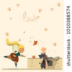 scottish terrier cooking... | Shutterstock .eps vector #1010388574