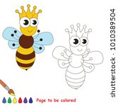 cute insect queen bee to be... | Shutterstock .eps vector #1010389504