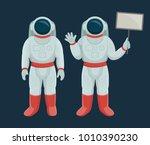 cartoon astronauts vector... | Shutterstock .eps vector #1010390230