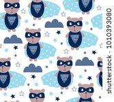 seamless superhero teddy bear... | Shutterstock .eps vector #1010393080