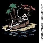 skeleton surfer  summer t shirt ... | Shutterstock .eps vector #1010393974