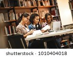 group of female students study...   Shutterstock . vector #1010404018