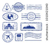post stamps with travel... | Shutterstock .eps vector #1010421040