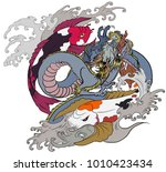 dragon and two koi carp with... | Shutterstock .eps vector #1010423434