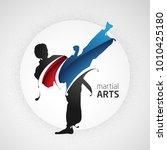 karate kick splash silhouette... | Shutterstock .eps vector #1010425180
