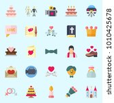 icons set about wedding with... | Shutterstock .eps vector #1010425678