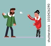 couple plaing snowballs | Shutterstock .eps vector #1010426290