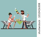 couple plaing snowballs | Shutterstock .eps vector #1010426308