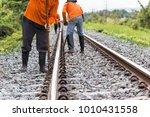 workers preparing rail for... | Shutterstock . vector #1010431558