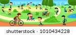 vector cartoon park family... | Shutterstock .eps vector #1010434228