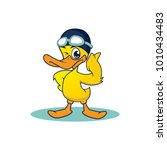 Yellow Duck Swim Mascot. Happy...