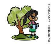little girl at park cartoon | Shutterstock .eps vector #1010448046