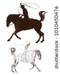 cowboy riding a horse grunge... | Shutterstock .eps vector #1010450476