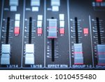 sound mixer control faders on a ... | Shutterstock . vector #1010455480