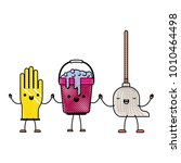 kawaii cartoon glove and bucket ... | Shutterstock .eps vector #1010464498