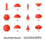 red umbrella icon  flat design | Shutterstock .eps vector #1010465890