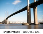 The Queen Elizabeth II bridge across the River Thames at Dartfor - stock photo