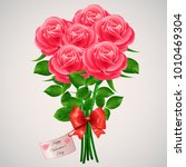 valentine s day red roses... | Shutterstock .eps vector #1010469304