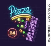 neon pizza 24 hours delivery.... | Shutterstock .eps vector #1010470120