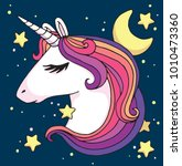 cute cartoon unicorn head with... | Shutterstock .eps vector #1010473360