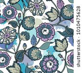 seamless floral background.... | Shutterstock .eps vector #1010475628