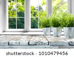desk of free space with green... | Shutterstock . vector #1010479456