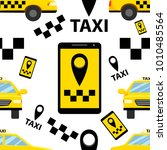 seamless pattern of taxi... | Shutterstock .eps vector #1010485564