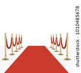 red carpet with red ropes on... | Shutterstock .eps vector #1010485678