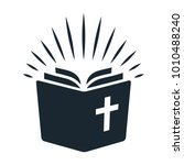 simple bible icon. open book... | Shutterstock .eps vector #1010488240