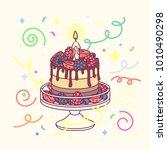 vector birthday cake with one... | Shutterstock .eps vector #1010490298