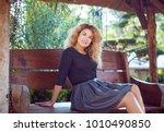 blond girl model plus in the... | Shutterstock . vector #1010490850